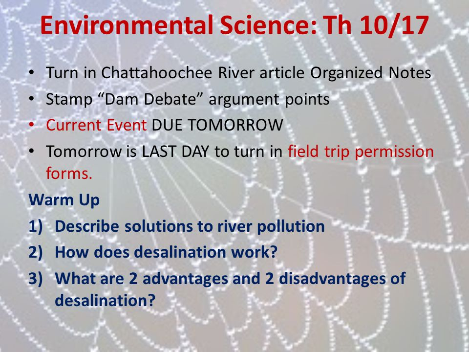 Environmental Science: Th 10/17