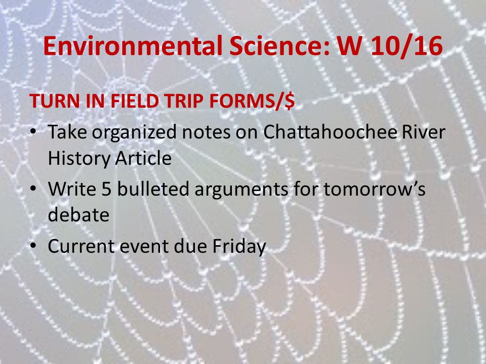 Environmental Science: W 10/16