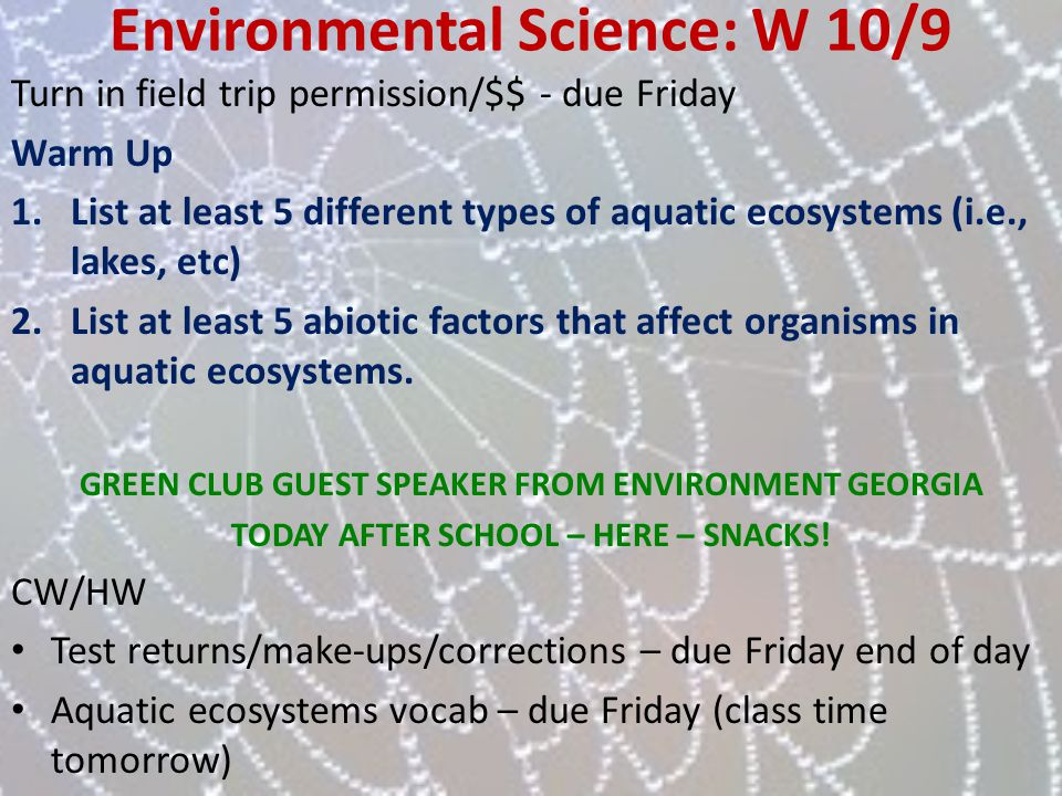 Environmental Science: W 10/9