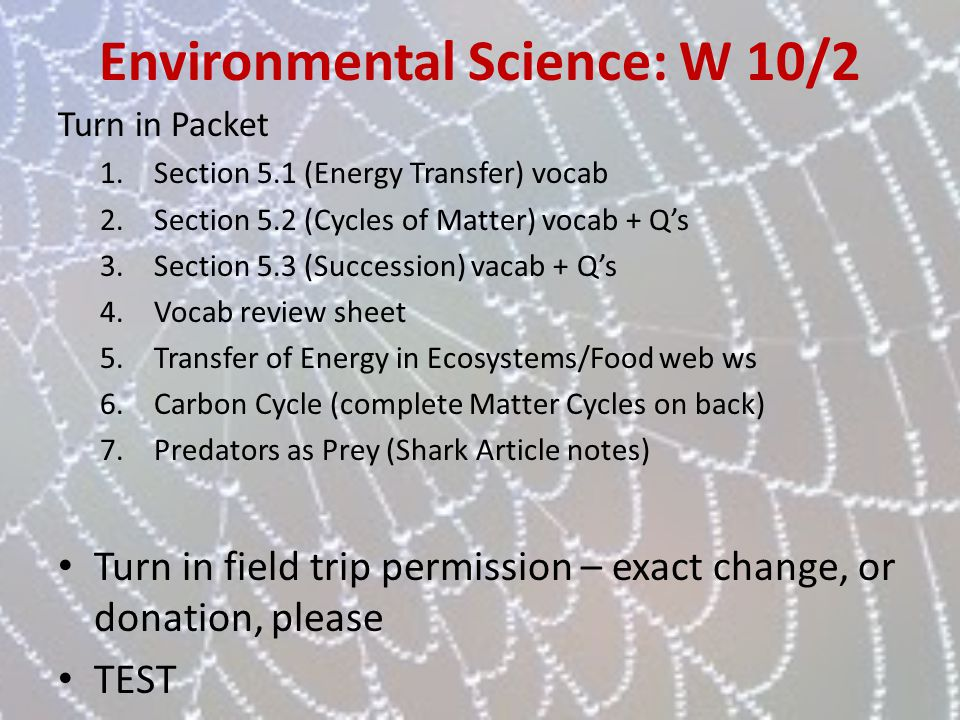 Environmental Science: W 10/2