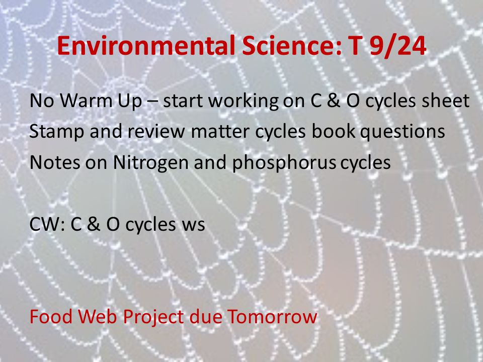Environmental Science: T 9/24