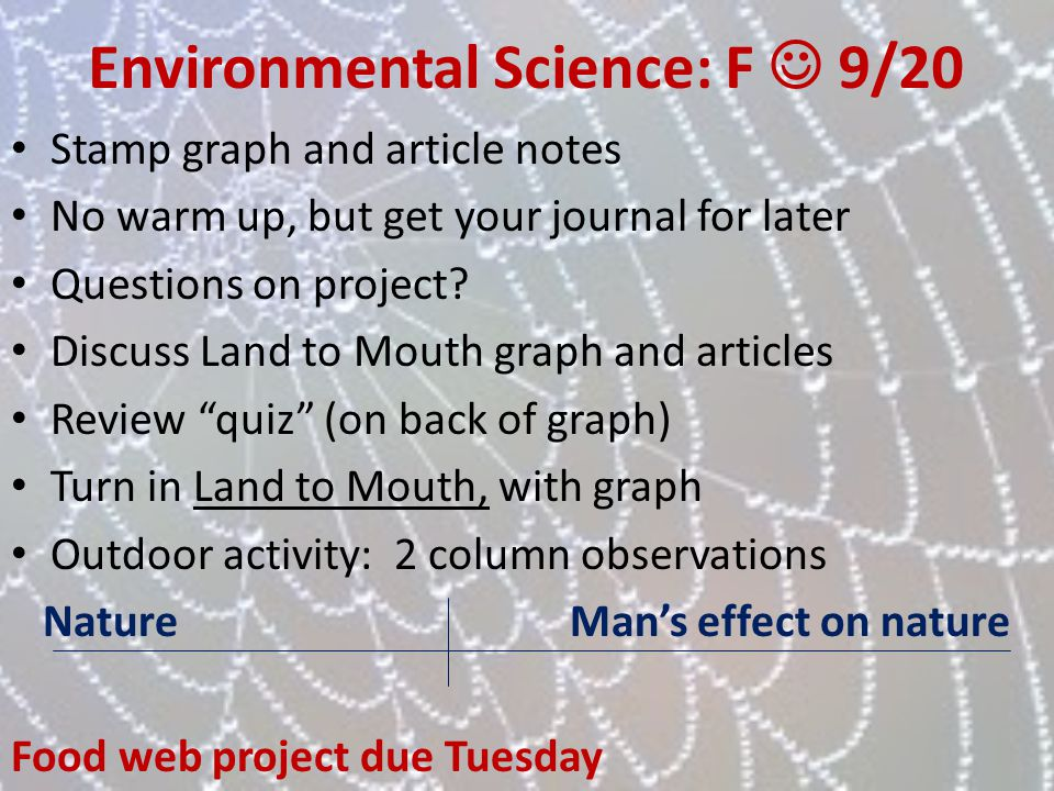 Environmental Science: F  9/20