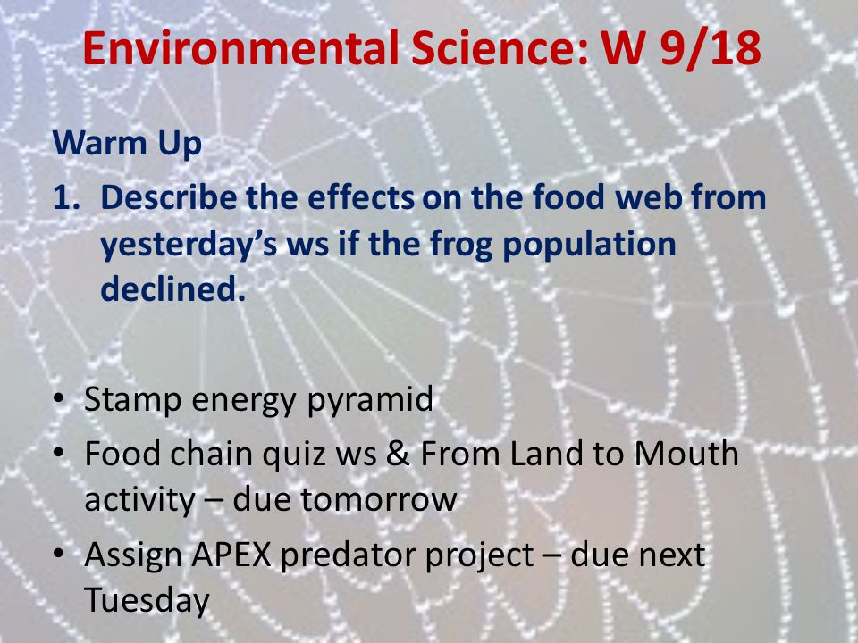 Environmental Science: W 9/18