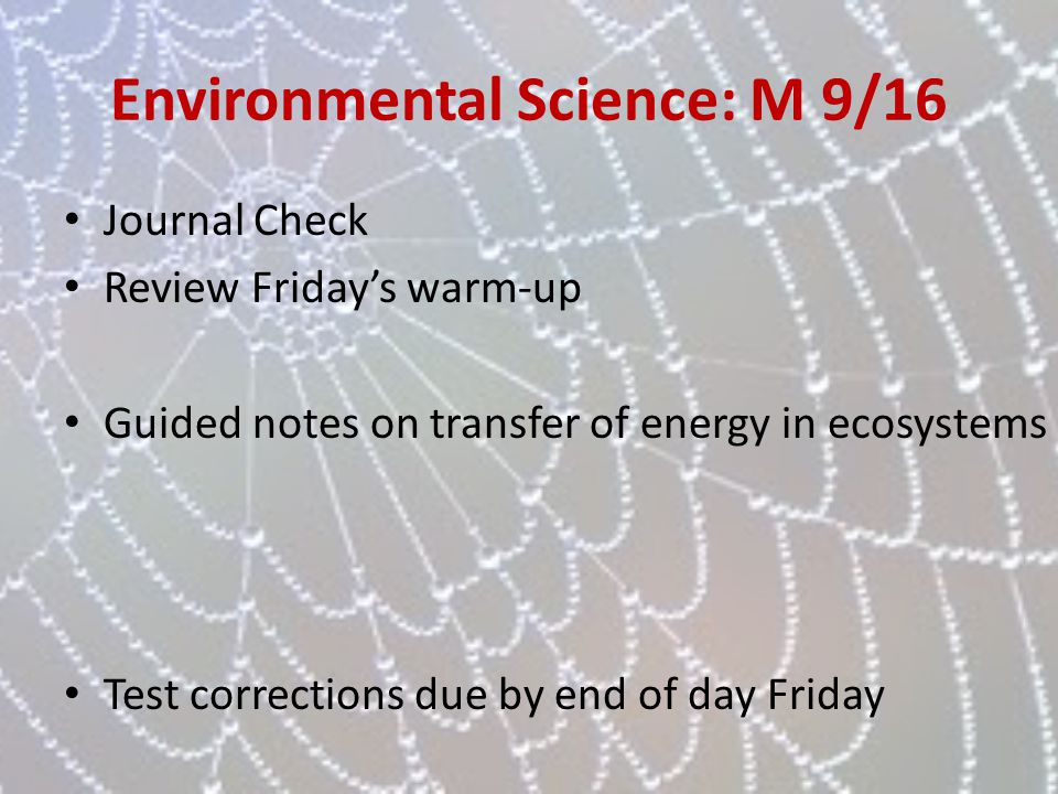 Environmental Science: M 9/16