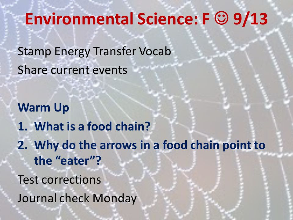 Environmental Science: F  9/13