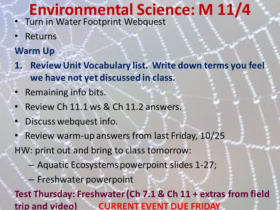 Environmental Science: M 11/4
