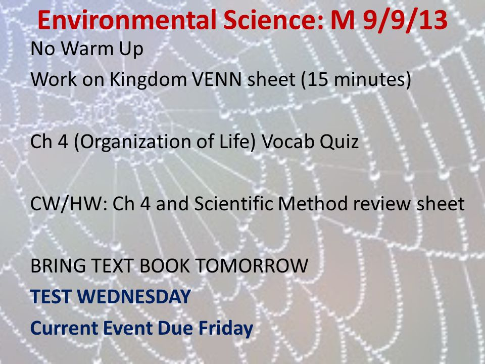 Environmental Science: M 9/9/13