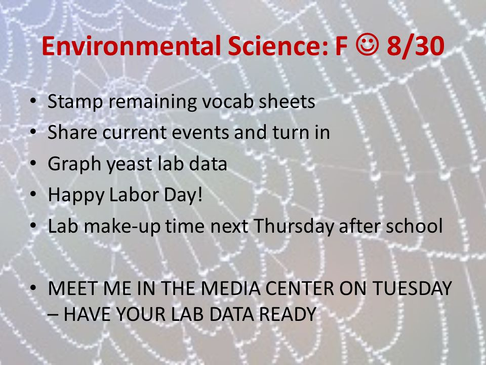 Environmental Science: F  8/30