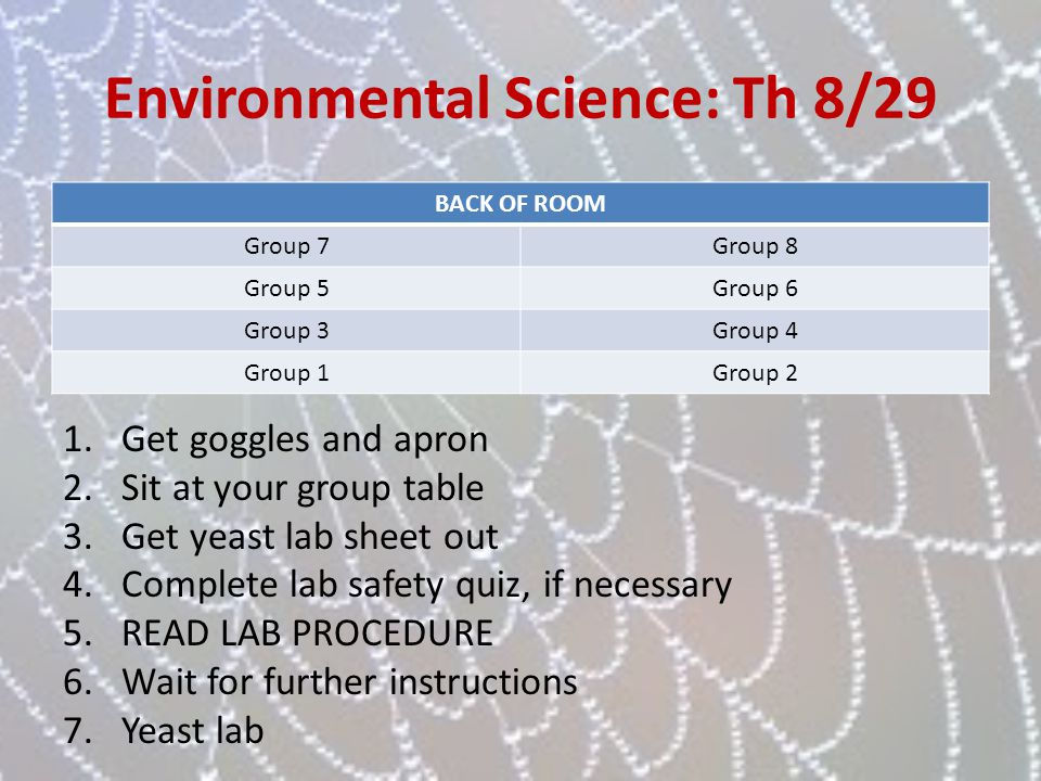 Environmental Science: Th 8/29