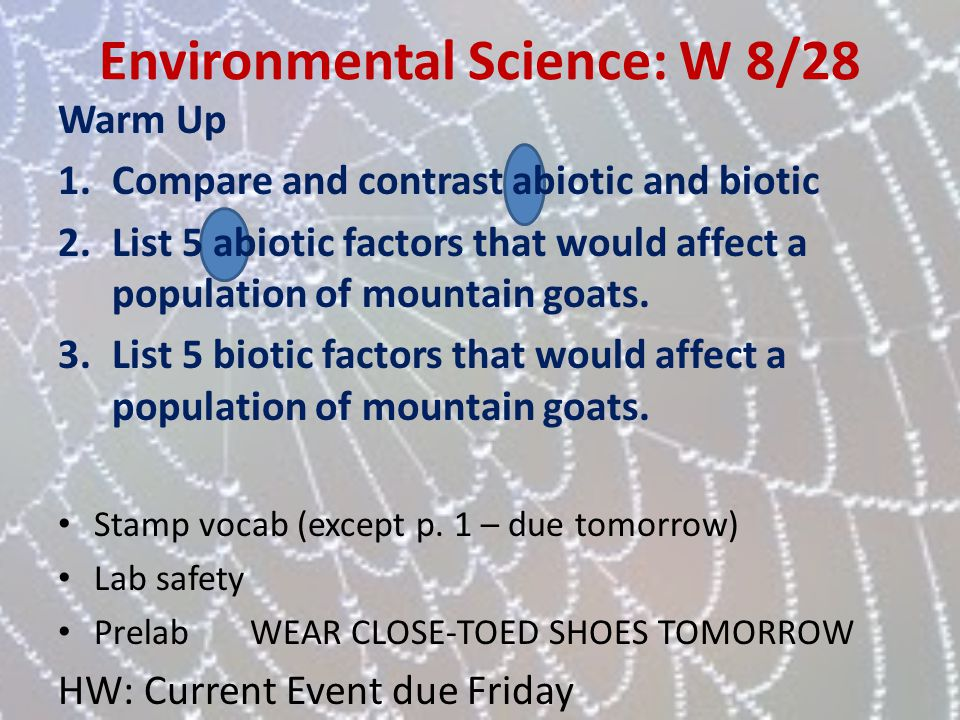 Environmental Science: W 8/28