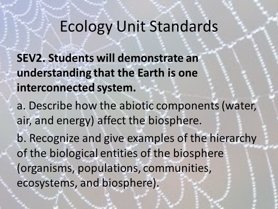 Ecology Unit Standards