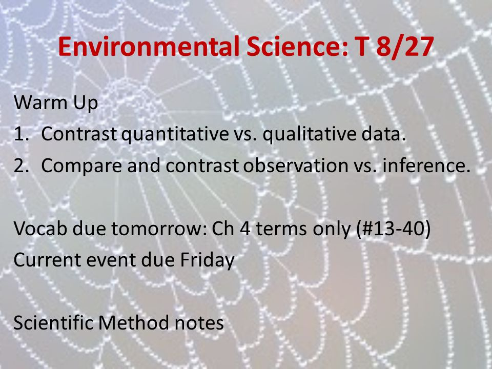 Environmental Science: T 8/27