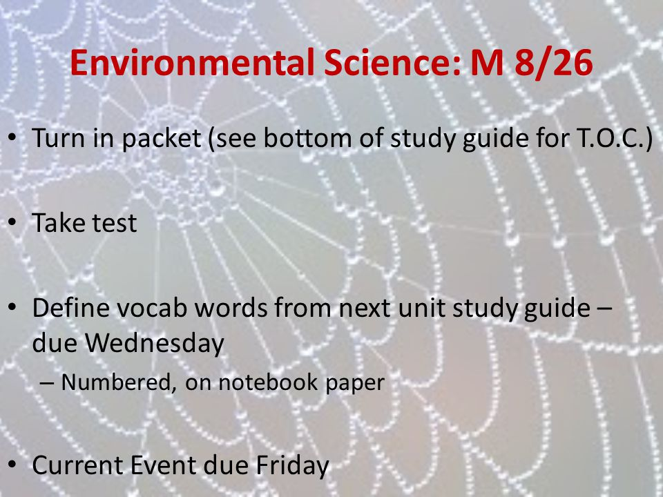 Environmental Science: M 8/26