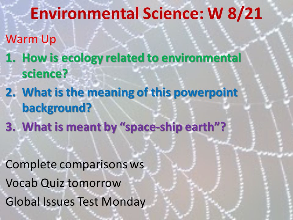 Environmental Science: W 8/21