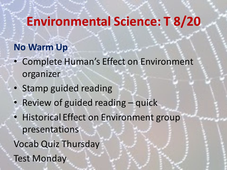 Environmental Science: T 8/20