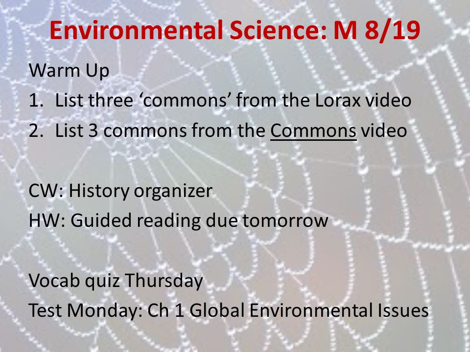 Environmental Science: M 8/19