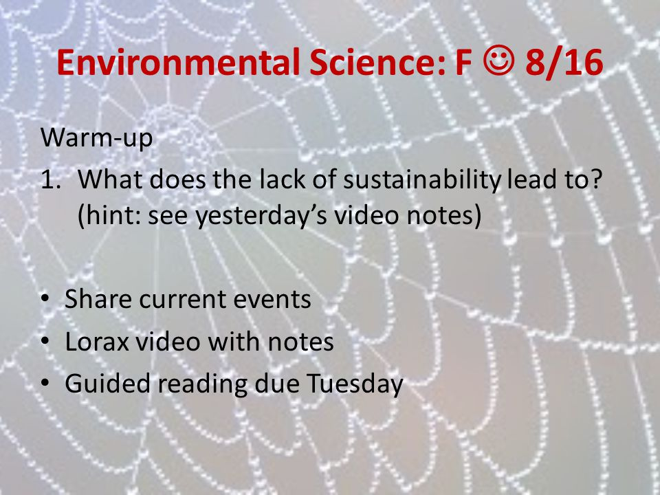 Environmental Science: F  8/16