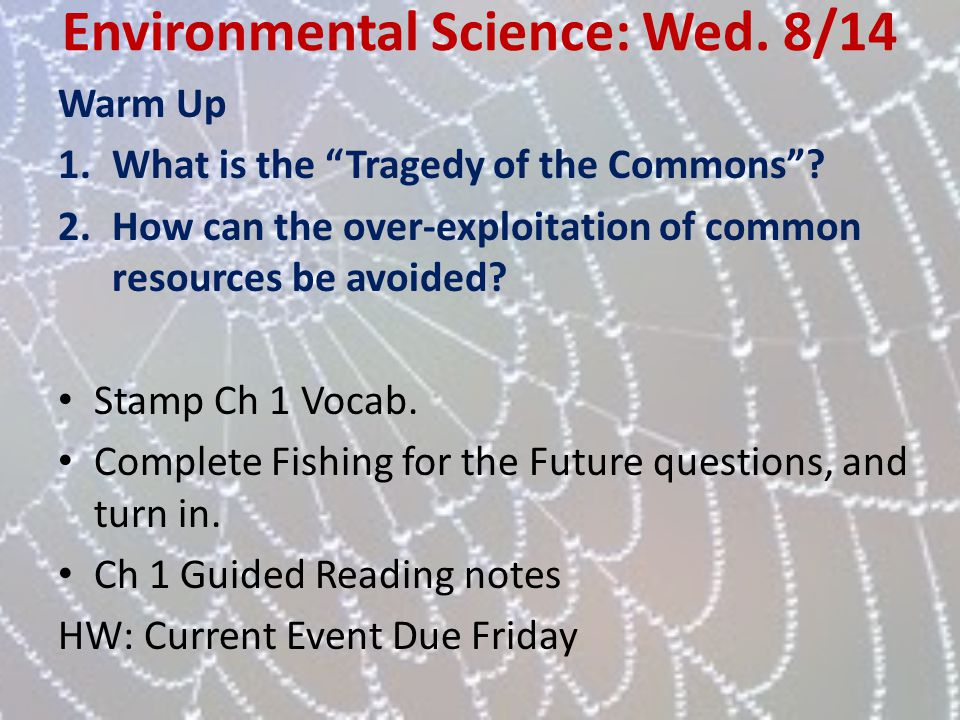 Environmental Science: Wed. 8/14