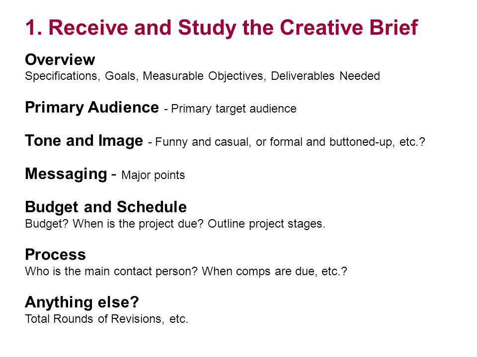 1. Receive and Study the Creative Brief