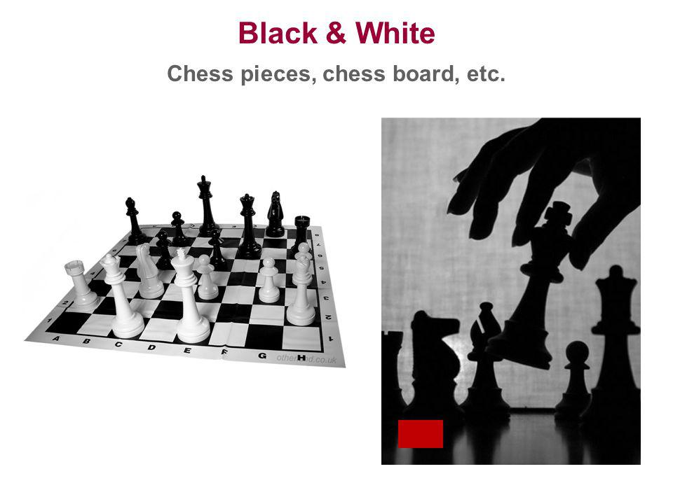Chess pieces, chess board, etc.