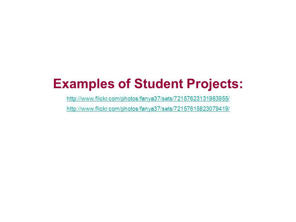 Examples of Student Projects: