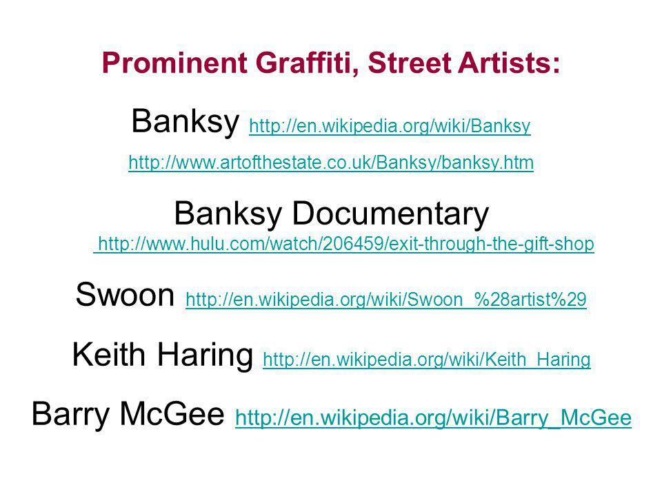 Prominent Graffiti, Street Artists: