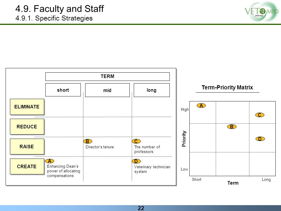 4.9. Faculty and Staff 4.9.1. Specific Strategies Term-Priority Matrix
