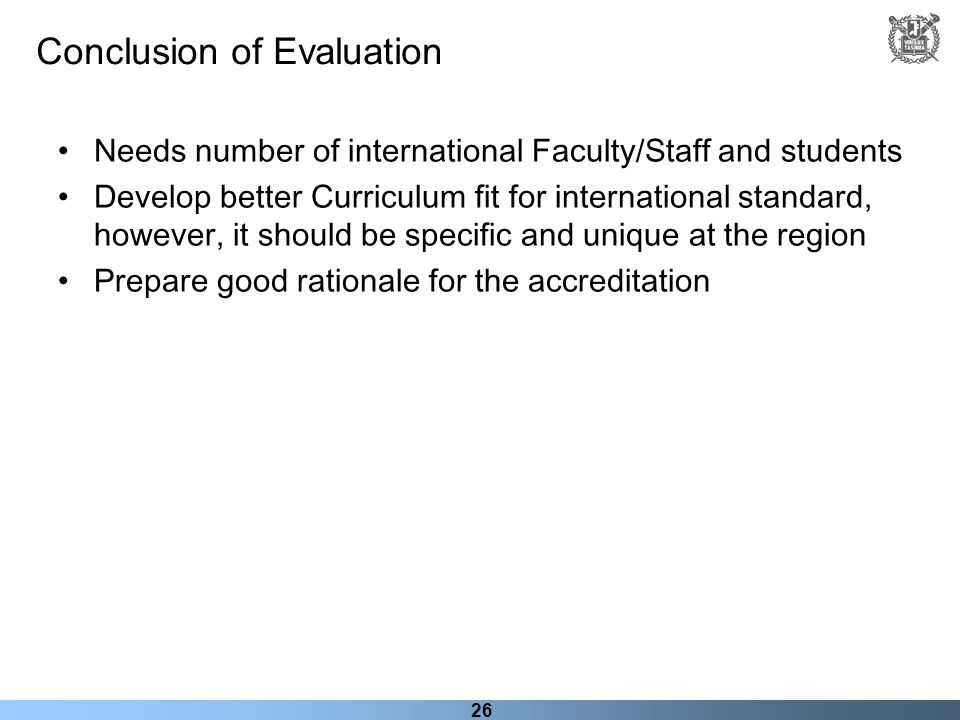 Conclusion of Evaluation