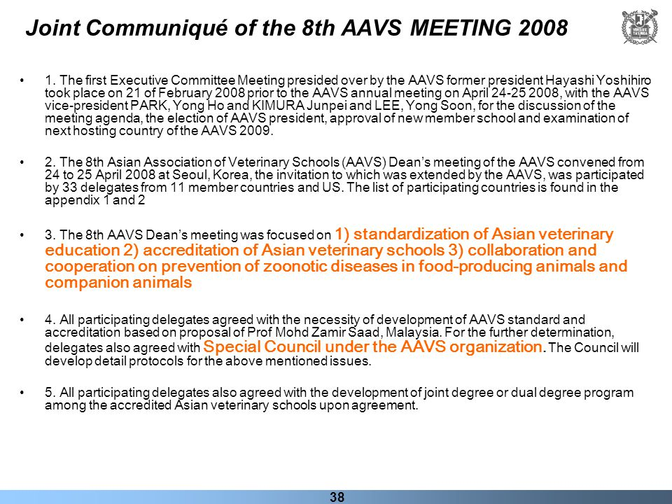 Joint Communiqué of the 8th AAVS MEETING 2008