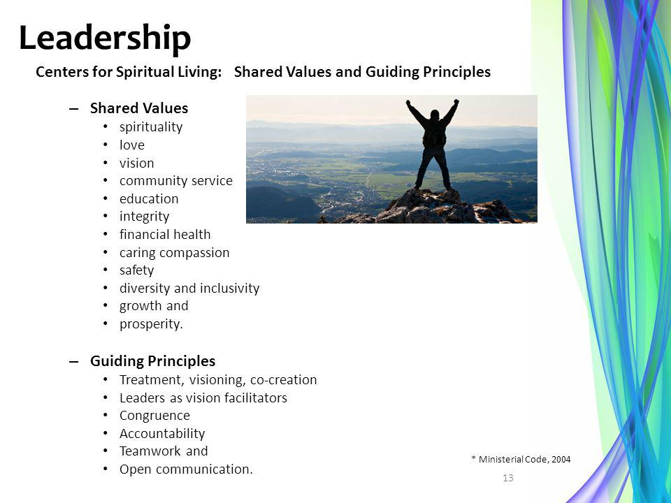 Leadership Centers for Spiritual Living: Shared Values and Guiding Principles. Shared Values. spirituality.