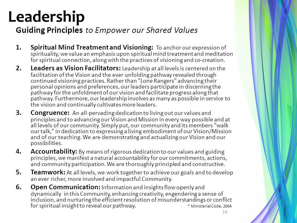 Leadership Guiding Principles to Empower our Shared Values