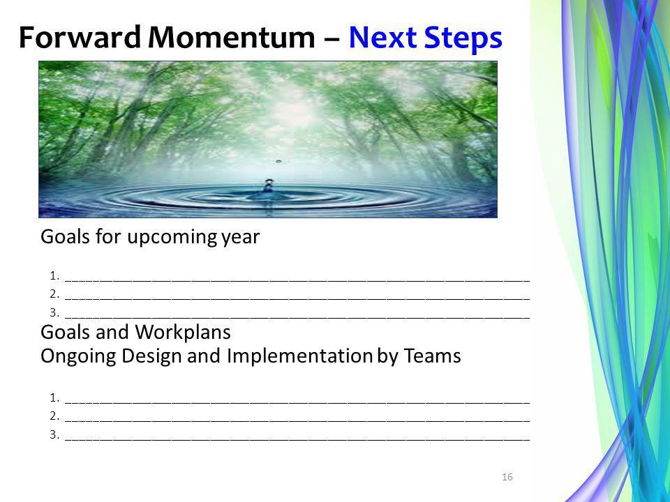 Forward Momentum – Next Steps