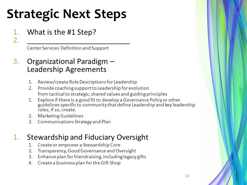 Strategic Next Steps What is the #1 Step _________________________