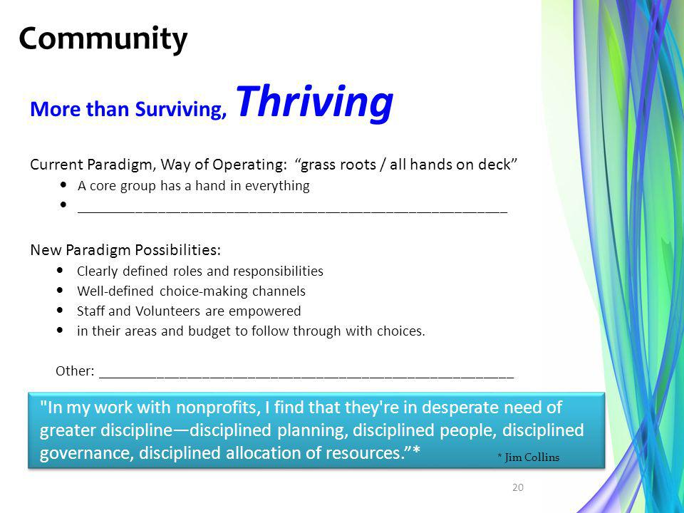 Community More than Surviving, Thriving