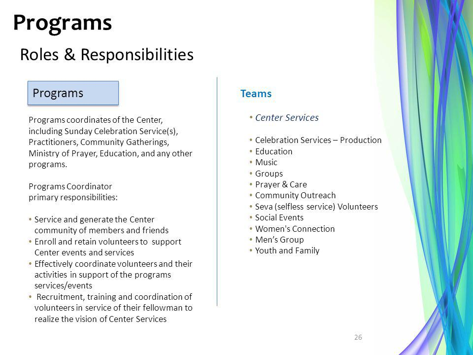 Programs Roles & Responsibilities Programs Teams Center Services