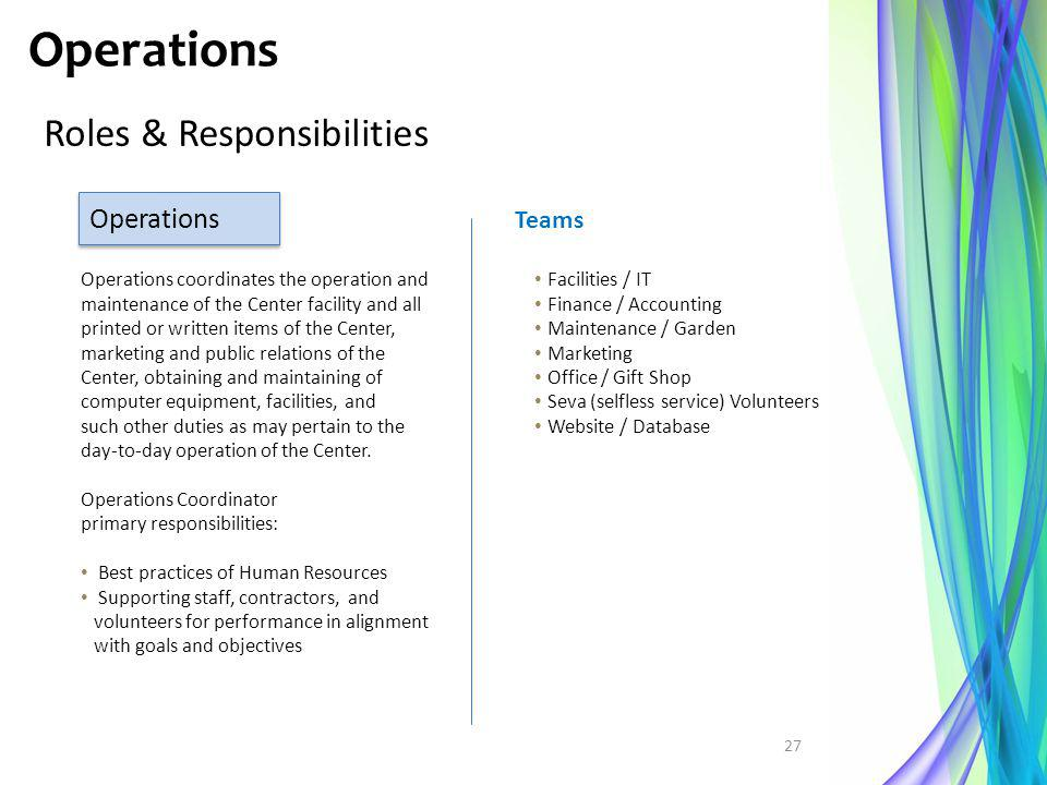 Operations Roles & Responsibilities Operations Teams