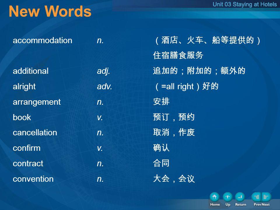 1-New Words New Words accommodation n. (酒店、火车、船等提供的) 住宿膳食服务