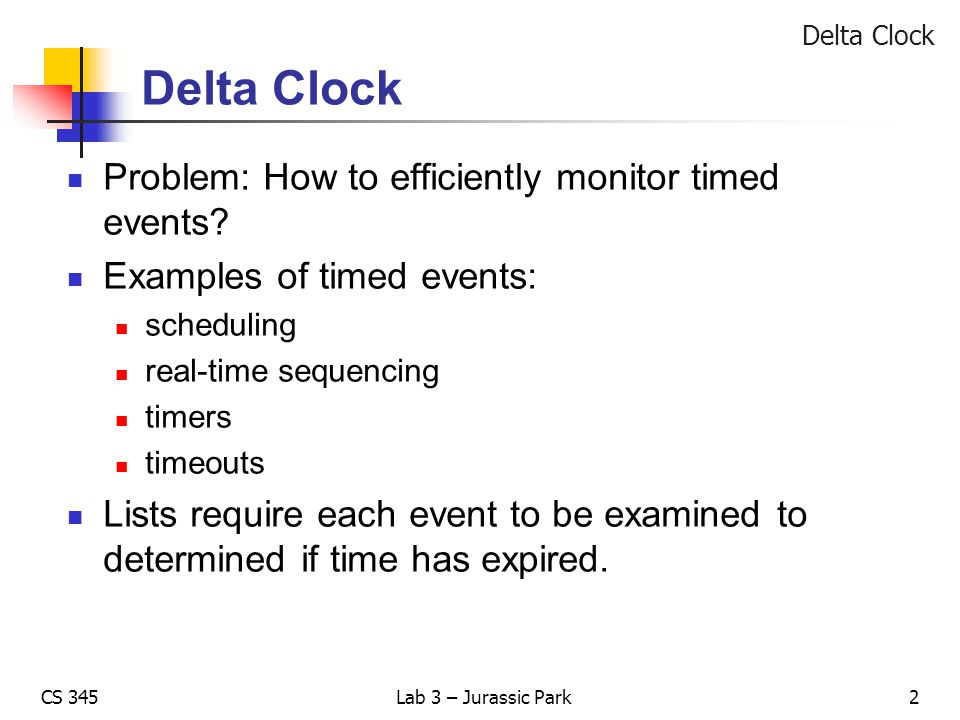 Delta Clock Problem: How to efficiently monitor timed events