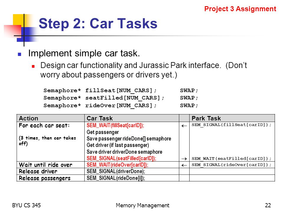 Step 2: Car Tasks Implement simple car task.