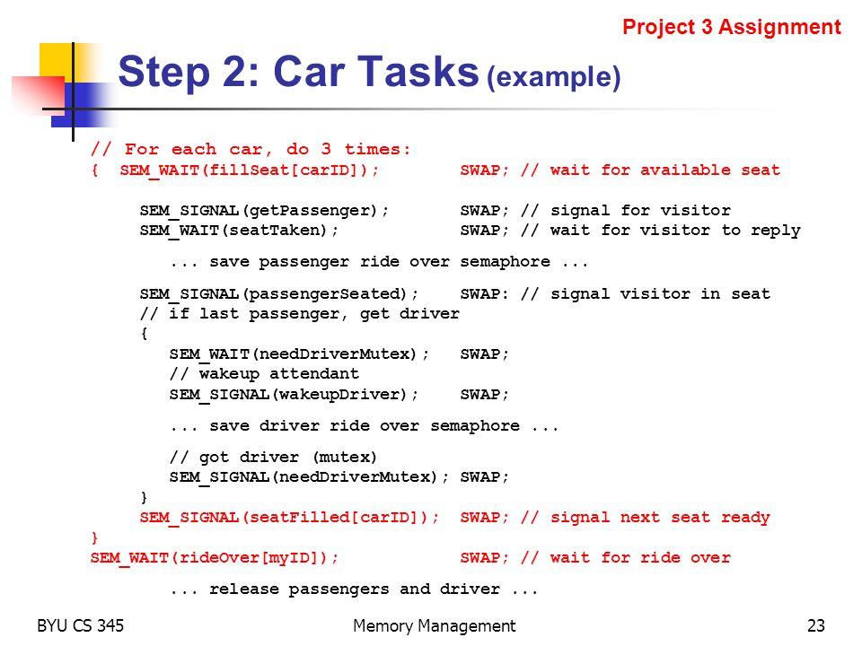 Step 2: Car Tasks (example)