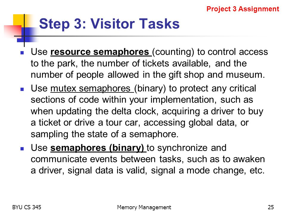 Project 3 Assignment Step 3: Visitor Tasks.