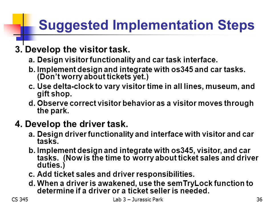 Suggested Implementation Steps