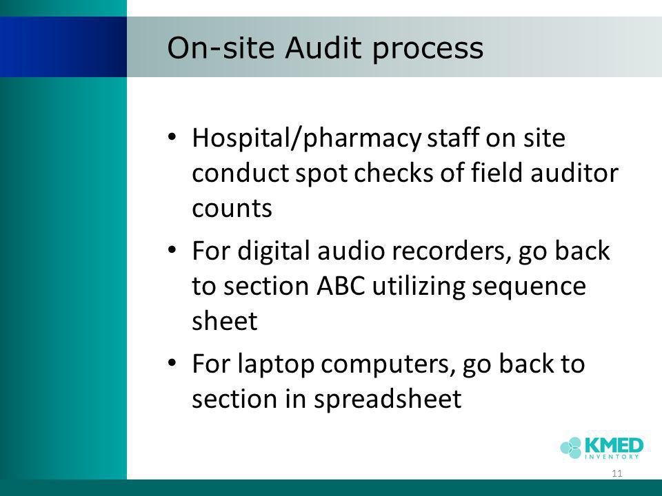 On-site Audit process Hospital/pharmacy staff on site conduct spot checks of field auditor counts.