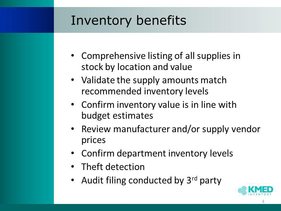 Inventory benefits Comprehensive listing of all supplies in stock by location and value.