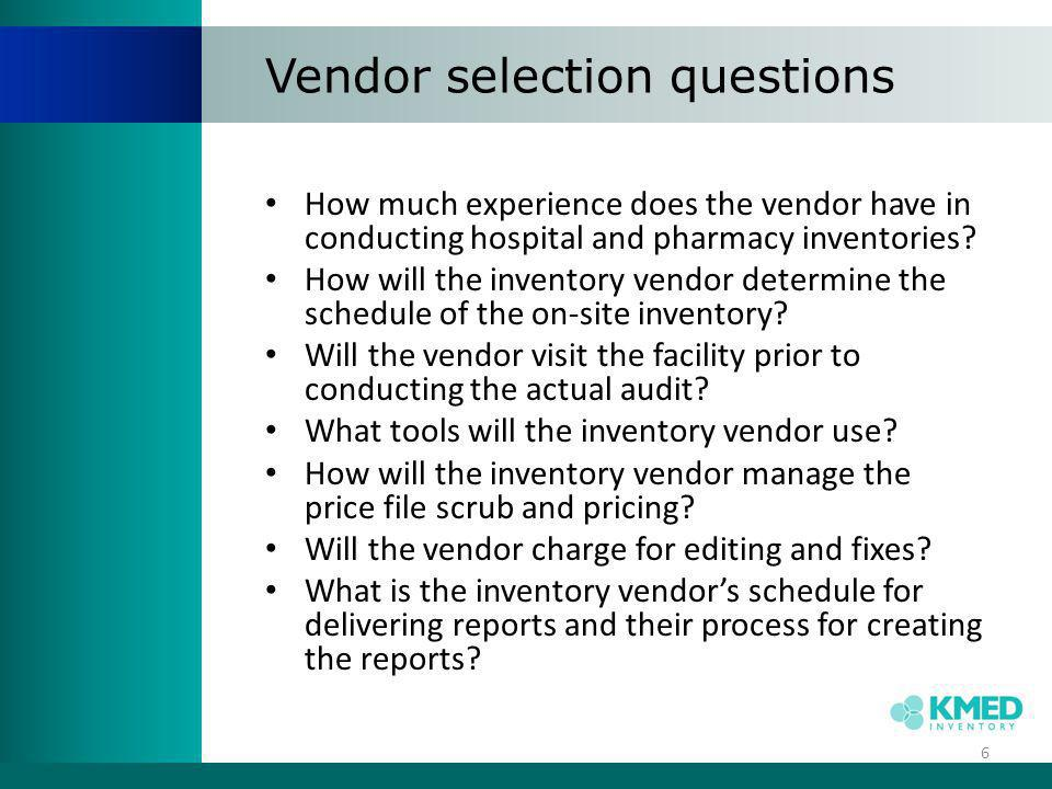 Vendor selection questions