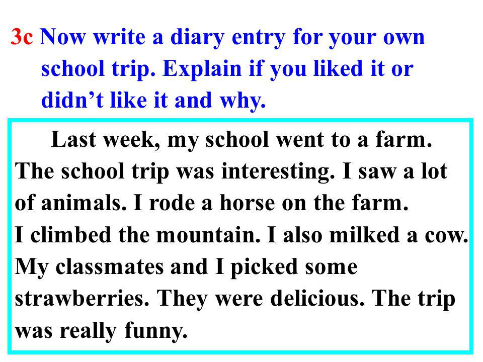 3c Now write a diary entry for your own