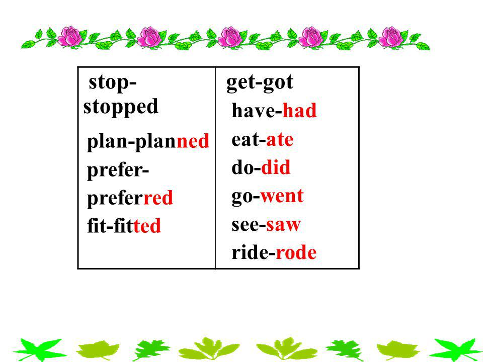 stop-stopped get-got have-had eat-ate do-did plan-planned go-went