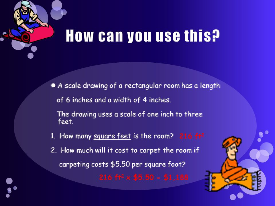 How can you use this A scale drawing of a rectangular room has a length. of 6 inches and a width of 4 inches.
