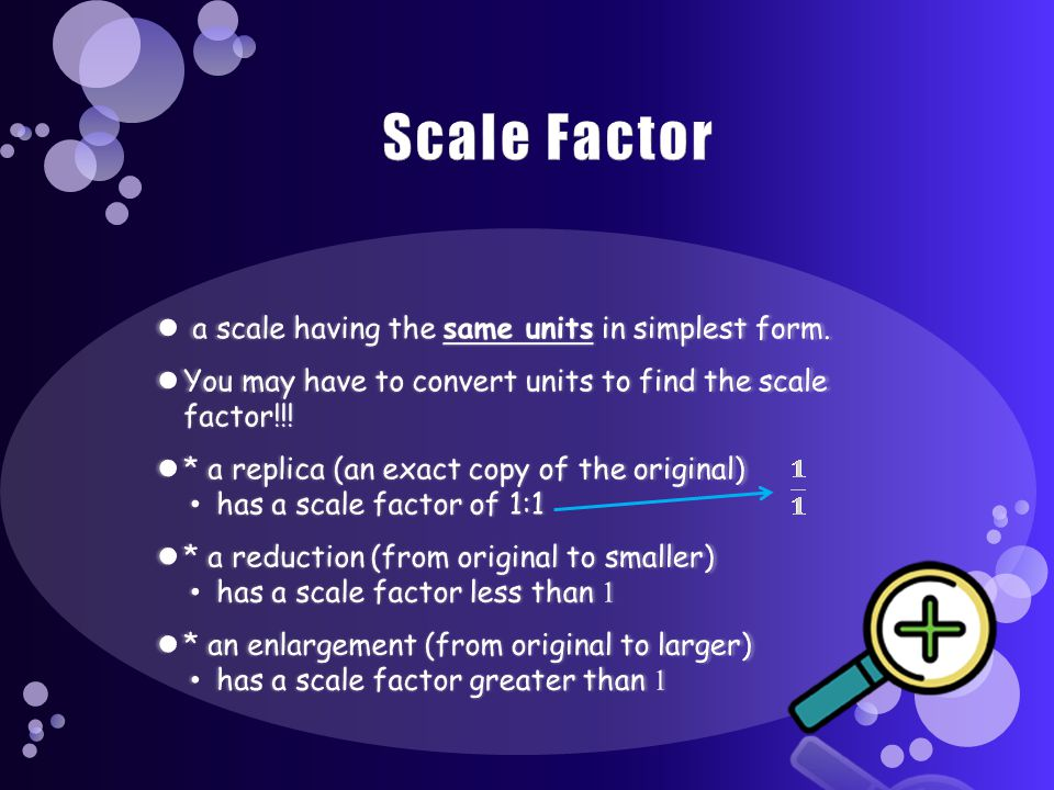 Scale Factor a scale having the same units in simplest form.