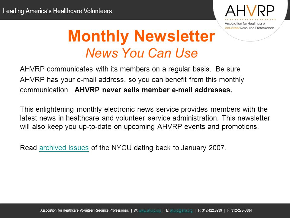 Monthly Newsletter News You Can Use